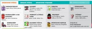 Nabídka produktů ze sportovní výživy