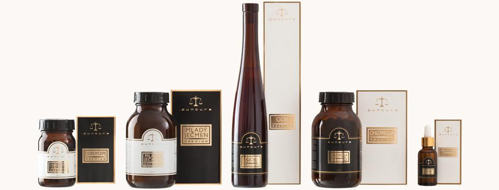 produkty Puntura v tmavých lahvičkách v krásném a elegantním designu a dárkovém balení